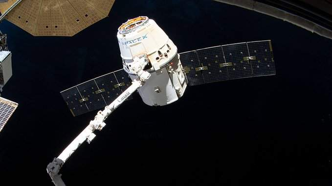 The Dragon spacecraft at the International Space Station. (Image:NASA)