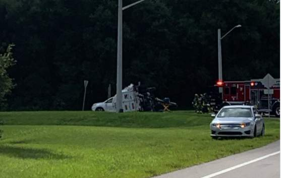 A tanker overturns in Lake County.
