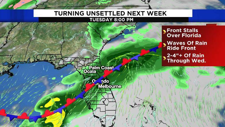 Front stalls over Florida, bringing heavy rain through Wednesday, April 17.