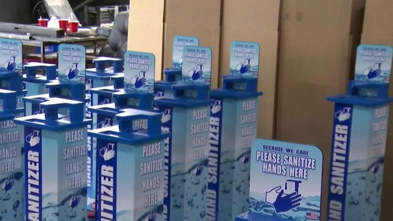 Florida company goes from manufacturing arcade games to making hand sanitizer stations
