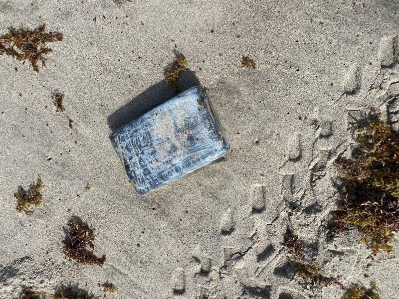 """One of 24 """"bricks"""" of cocaine found washed up along Cape Canaveral Space Force Station on May 19. (Image credit: Space Launch Delta 45)"""