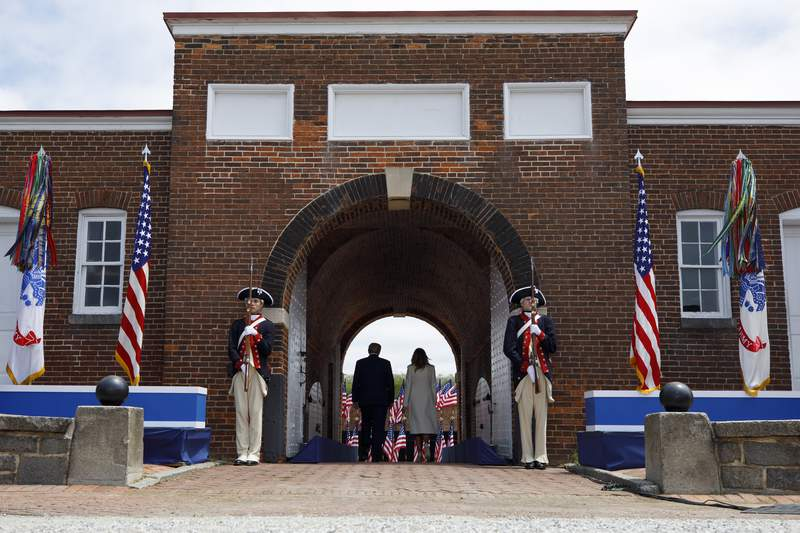 FILE- In this May 25, 2020, file photo President Donald Trump and first lady Melania Trump depart after participating in a Memorial Day ceremony at Fort McHenry National Monument and Historic Shrine in Baltimore. A forklift has damaged a brick walkway at the iconic national monument Fort McHenry, where Republicans were building a stage for Vice President Mike Pences appearance for the partys national convention, a National Park Service spokeswoman said Monday, Aug. 24. (AP Photo/Evan Vucci, File)
