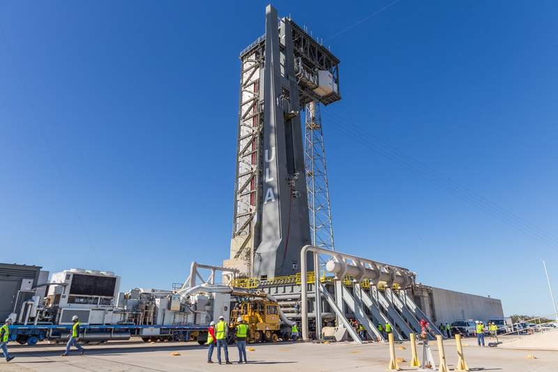 The newly assembled ULA launch platform for the Vulcan Centaur rocket made its first trip to the launch pad on Jan. 29, 2021. (Image: ULA)