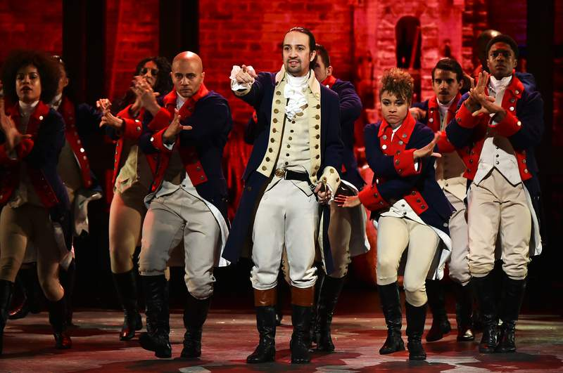 Lin-Manuel Miranda and the cast of 'Hamilton' perform onstage during the 70th Annual Tony Awards in June 2016.