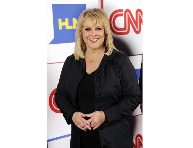 FILE - This Jan. 10, 2014 file photo shows Nancy Grace of HLN posing at the CNN Worldwide All-Star Party in Pasadena, Calif.  Former CNN mainstay Nancy Grace is joining the Fox Nation streaming service. Shell begin offering her podcast and radio show Crime Stories on Fox Nation in January. (Photo by Chris Pizzello/Invision/AP, File)