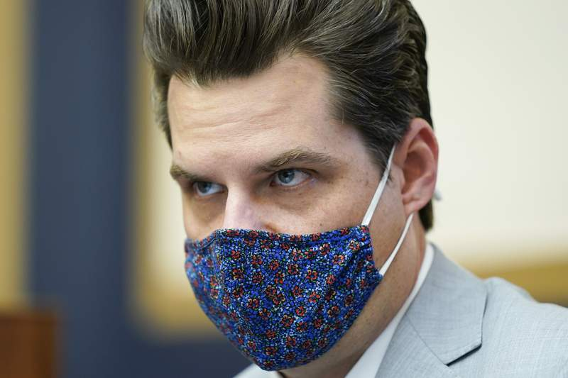 Rep. Matt Gaetz, R-Fla., attends a House Judiciary committee hearing at the Capitol in Washington, Wednesday, April 14, 2021. (AP Photo/J. Scott Applewhite)