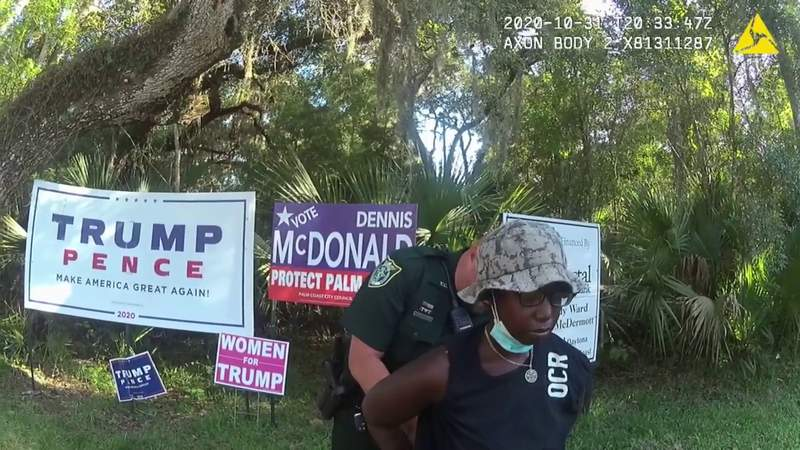 Video: Florida woman claims she 'snapped' before damaging Trump signs, deputies say