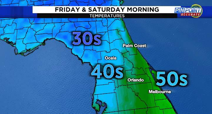 Low temperatures Friday and Saturday morning
