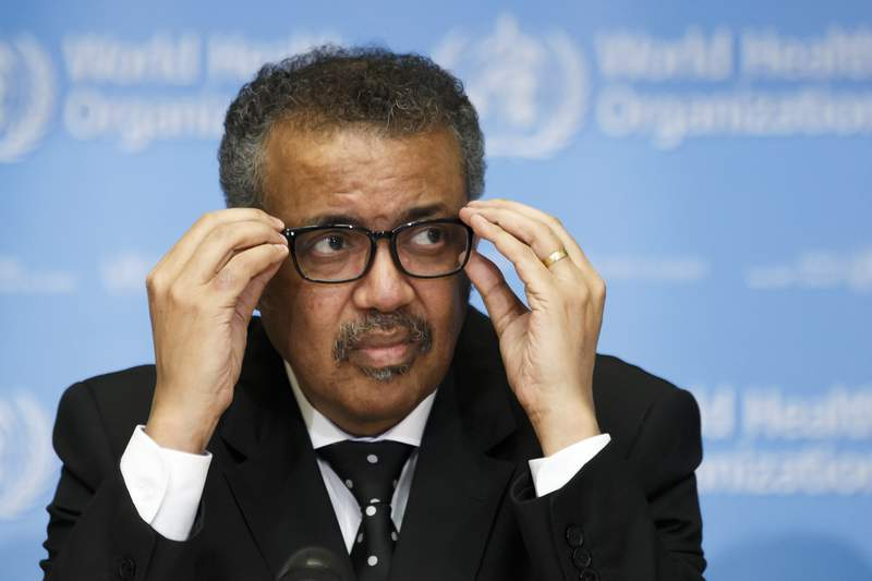 Tedros Adhanom Ghebreyesus, Director General of the World Health Organization (WHO), addresses the media during a press conference at the World Health Organization (WHO) headquarters in Geneva, Switzerland, Monday, Feb. 10, 2020 on the situation regarding to the new coronavirus. (Salvatore Di Nolfi/Keystone via AP)