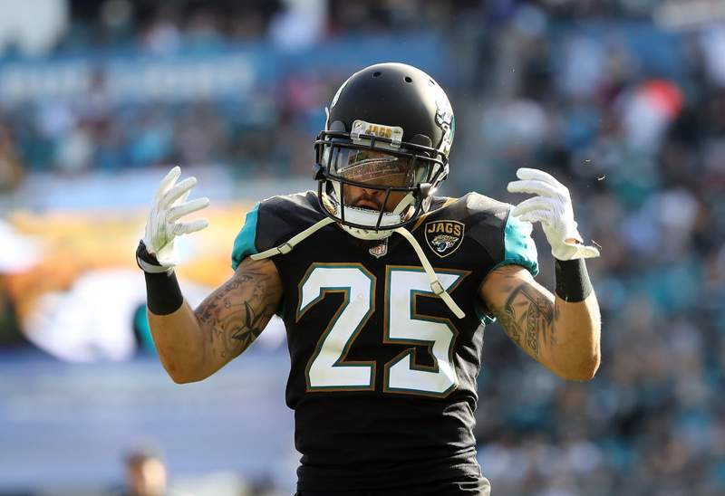 Peyton Thompson of the Jacksonville Jaguars celebrates a play during the second half of their game against the Houston Texans at EverBank Field on December 17, 2017 in Jacksonville, Florida.  (Photo by Sam Greenwood/Getty Images)