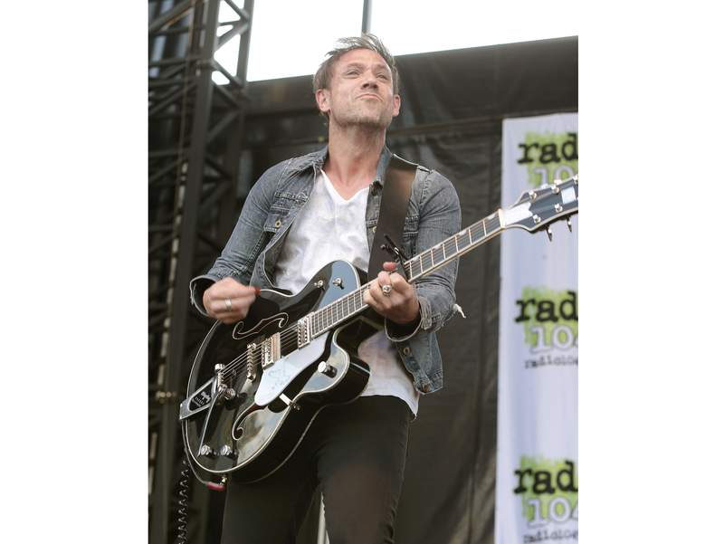 FILE - This May 3, 2015 file photo shows Mikel Jollett of The Airborne Toxic Event performing in concert during the Radio 104.5 Summer Block Party in Philadelphia. Celadon Books announced Tuesday that Jolletts  memoir, Hollywood Park, also the title of the bands next album, will come out May 5. (Photo by Owen Sweeney/Invision/AP, File)