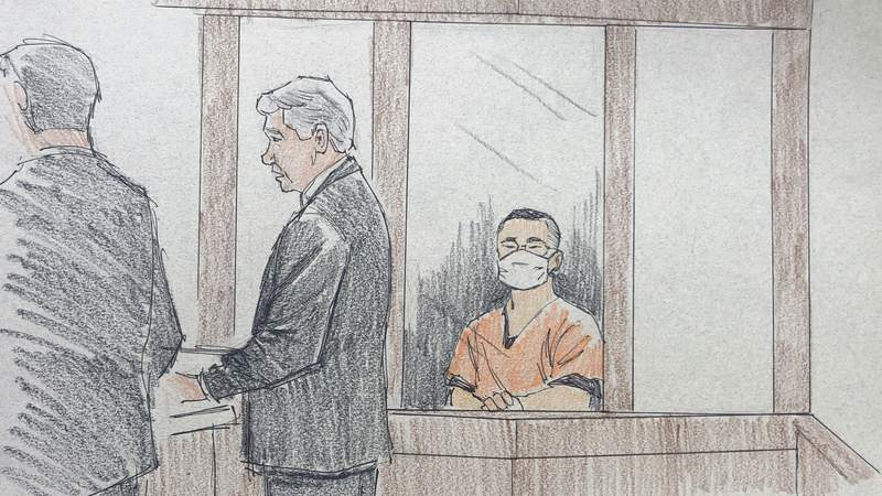 In this courtroom sketch, former Minneapolis police officer Tou Thao, right, makes an appearance in Hennepin County District Court in Minneapolis with Assistant Attorney General Matthew Frank, left, and defense attorney Robert Paule on Thursday, June 4, 2020. Thao and two other police officers have been charged with aiding and abetting Derek Chauvin, who is charged with second-degree murder of George Floyd, a black man who died after being restrained by him on May 25. (Cedric Hohnstadt via AP)