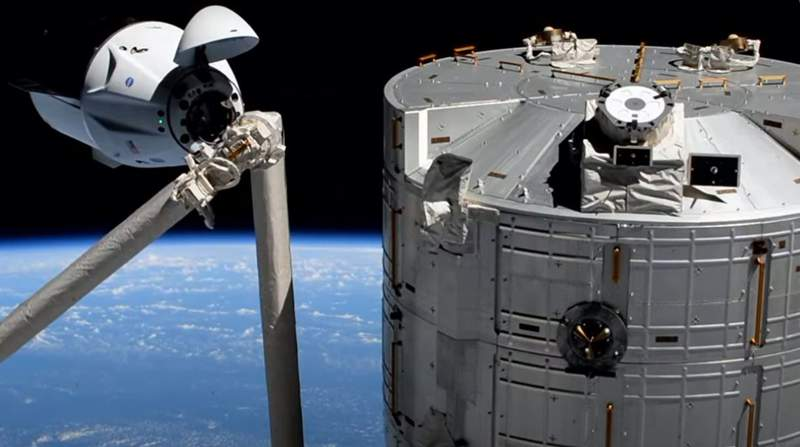 Dragon Endeavour during docking at the International Space Station on April 24, 2021. (Image: NASA)