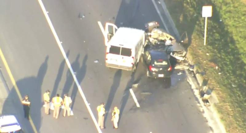 The FHP says two people were killed in a three-vehicle crash near DeLand.