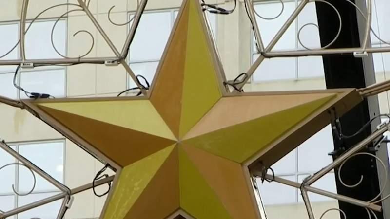 Crews install Jack Kazanzas Star