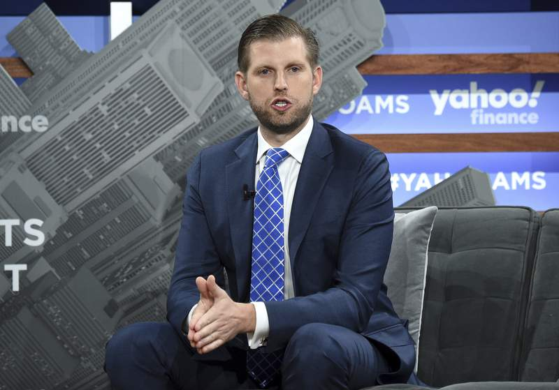 FIL- In this Oct. 10, 2019 file photo, Trump Organization executive vice president Eric Trump participates in the Yahoo Finance All Markets Summit at Union West in New York. Trump is scheduled to speak via video on Monday, Oct. 5, 2020, with New York state investigators probing his family's business practices, according to court papers filed Friday, Oct. 3. (Photo by Evan Agostini/Invision/AP, File)
