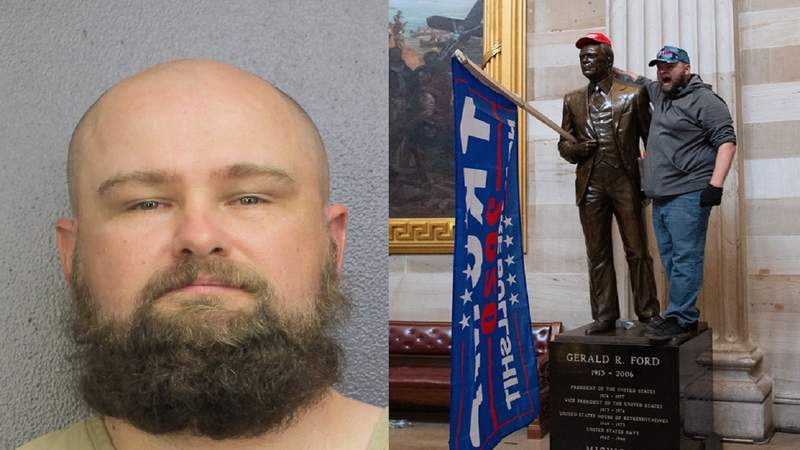 Richard Harris, 40, is facing multiple charges in connection with the Jan. 6 insurrection at the U.S. Capitol building.