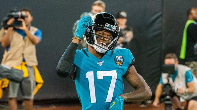 Receiver DJ Chark celebrates a touchdown during Thursday's game over the Titans. (George Varkanis, News4Jax)