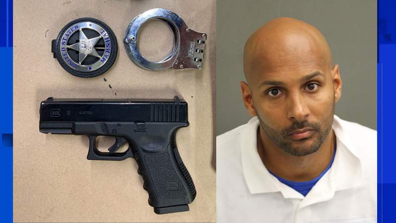 John Mobley Jr. 36, is accused of impersonating a federal law enforcement officer, using the badge on the left. (Images: DOJ)