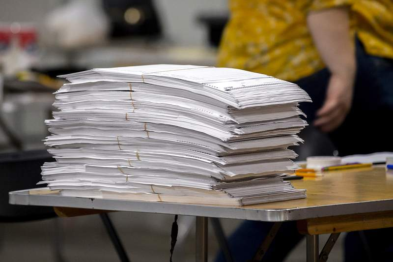 Chatham County election officials sort ballots during a ballot audit, Friday, Nov. 13, 2020, in Savannah, Ga.   Election officials in Georgias 159 counties are undertaking a hand tally of the presidential race that stems from an audit required by state law.  (AP Photo/Stephen B. Morton)