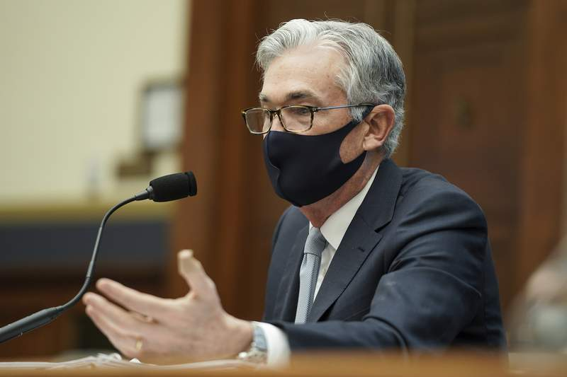 Federal Reserve Chairman Jerome Powell testifies before a House Financial Services Committee hearing on Capitol Hill in Washington, Wednesday, Dec. 2, 2020. (Greg Nash/Pool via AP)