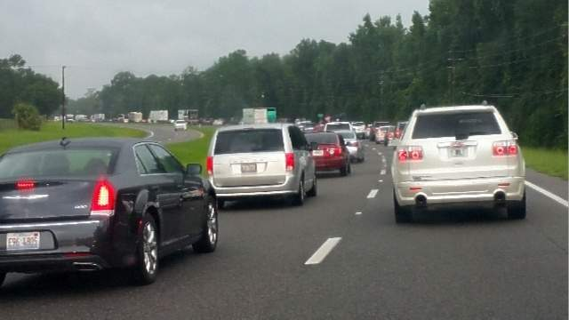 Traffic backs up for miles due to closure of the northbound lanes of Interstate 75.
