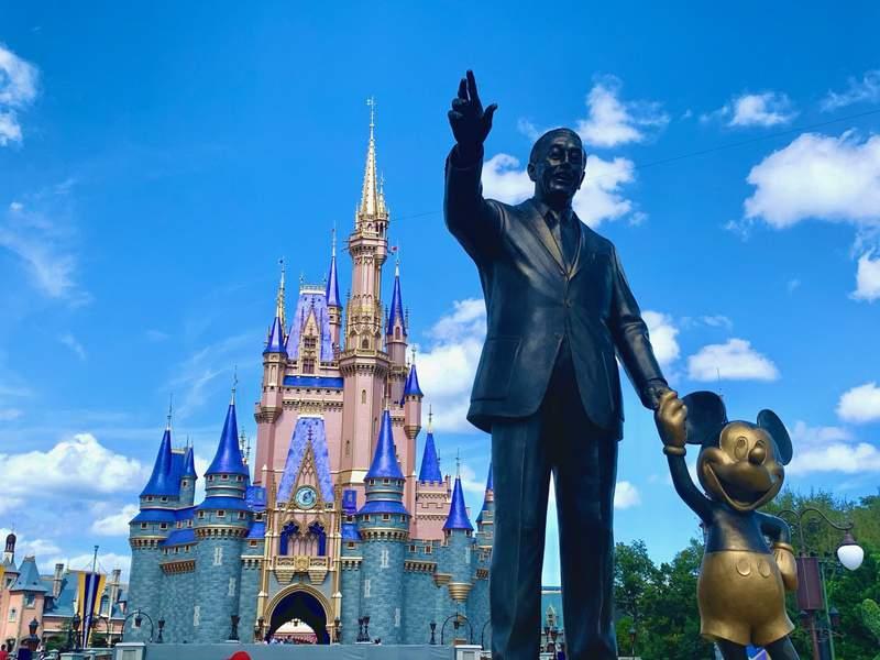 Walt Disney and Mickey Mouse at Walt Disney World's Magic Kingdom