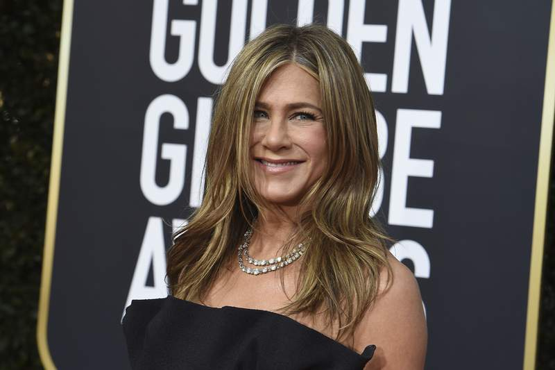 Jennifer Aniston arrives at the 77th annual Golden Globe Awards at the Beverly Hilton Hotel on Sunday, Jan. 5, 2020, in Beverly Hills, Calif. (Photo by Jordan Strauss/Invision/AP)