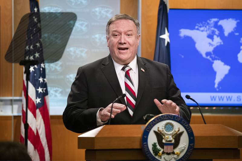 Secretary of State Mike Pompeo speaks during a news conference at the State Department, Tuesday, March 17, 2020, in Washington. (AP Photo/Manuel Balce Ceneta)