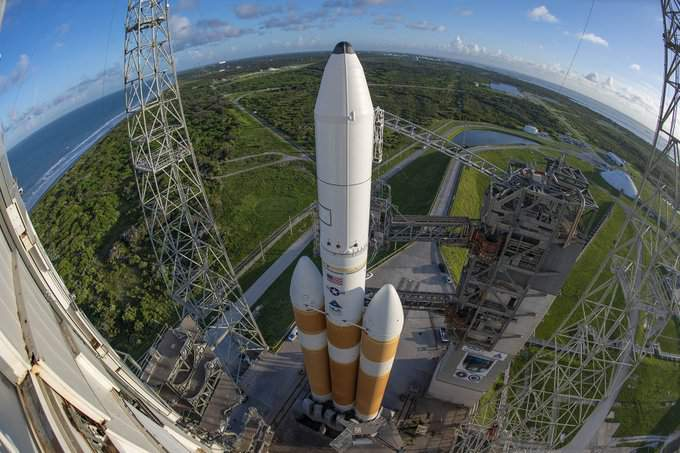 ULA's Delta IV Heavy rocket with the NROL-44 spy satellites on Launch Complex 37 at Cape Canaveral Air Force Station. (Image credit: ULA)