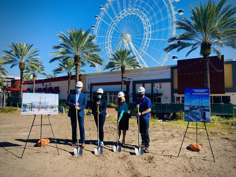 Officials break ground on new record-setting attractions at ICON Park on Jan. 29, 2021