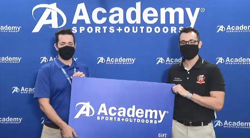 Oviedo High School coach Willi Furiosi received a $250 gift card to Academy Sports & Outdoors after winning the Seminole County teacher of the year award.