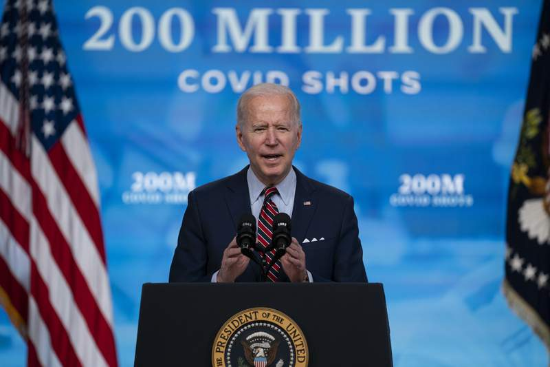 FILE - In this April 21, 2021, file photo, President Joe Biden speaks about COVID-19 vaccinations at the White House, in Washington. Biden has touted administering 200 million doses of COVID-19 vaccine before his first 100 days in office and signaled it is time for the U.S. to begin sharing its surplus. (AP Photo/Evan Vucci, File)
