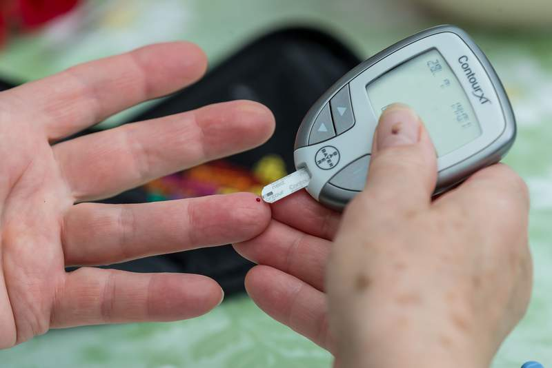 A blood glucose measurement is performed.