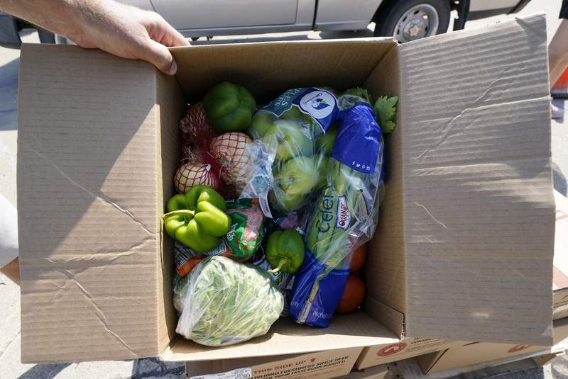 A volunteer shows a box filled with produce to be given away at a drive-up produce giveaway organized by a Des Moines food pantry, Friday, Aug. 28, 2020, in Des Moines, Iowa. Across the country, people have picked up roughly 75 million food boxes this summer through the Farmers to Families Food Box Program overseen by the U.S. Department of Agriculture. The effort began in the spring when efforts to slow the spread of the coronavirus caused food demand at restaurants and schools to plunge, leaving farmers with little choice but to dispose of produce, meat and dairy products even as millions of people desperately turned to help from overwhelmed food banks. (AP Photo/Charlie Neibergall)