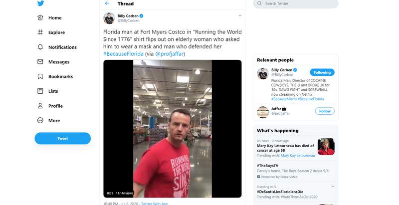 Video that has gone viral shows a Florida man screaming in Costco because another customer asked him to wear a mask.