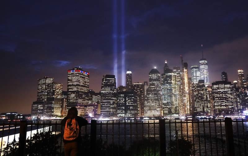 The Tribute in Light memorial lights up lower Manhattan near One World Trade Center on Sept. 11, 2018 in New York City.