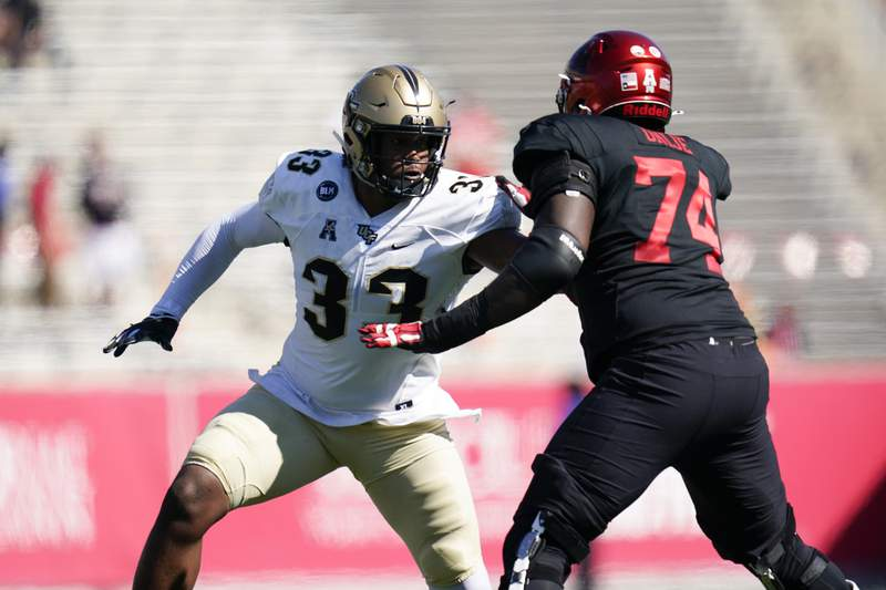 Central Florida defensive lineman Tre'mon Morris-Brash (33) rushes against Reuben Unije (74) during an NCAA football game against Houston on Saturday, Oct. 31, 2020 in Houston. (AP Photo/Matt Patterson)