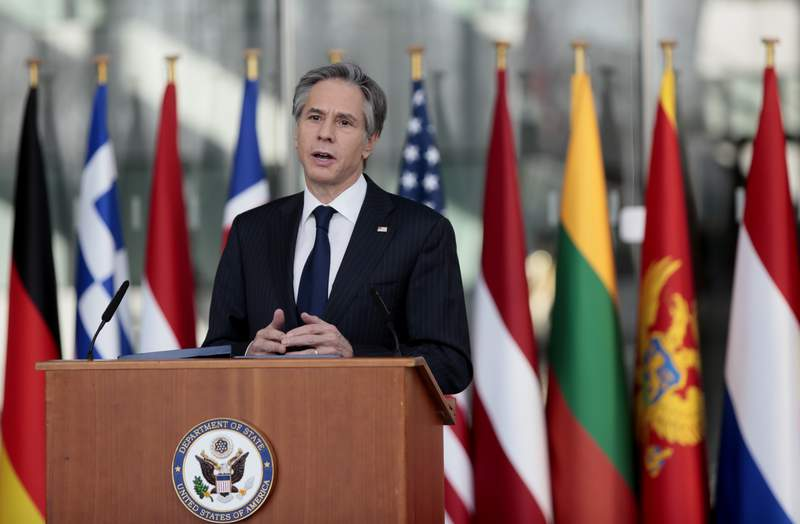 U.S. Secretary of State Antony Blinken delivers an address after a meeting of NATO foreign ministers at NATO headquarters in Brussels on Wednesday, March 24, 2021. (AP Photo/Virginia Mayo, Pool)