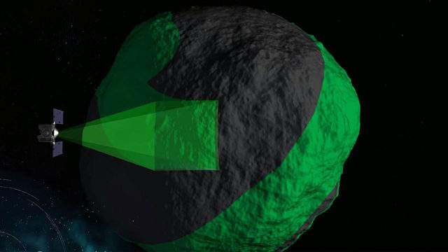 A rendering of NASA's OSIRIS-REx spacecraft at Bennu scanning its surface. (Image: NASA's Scientific Visualization Studio)