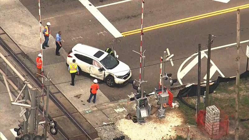 A crash involving a SunRail train is reported in Maitland.