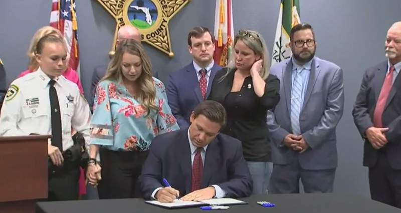 Gov. Ron DeSantis signed a bill on Friday renaming three roads in Florida to honor officers killed in the line of duty in 2021.