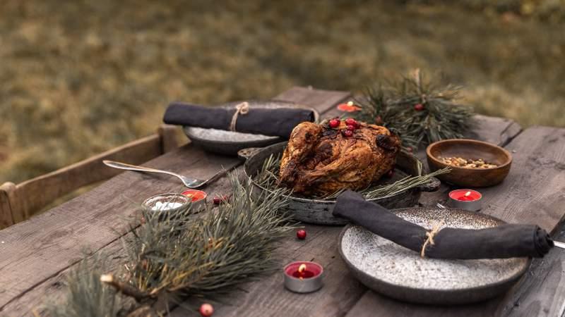 Thanksgiving setting outside.