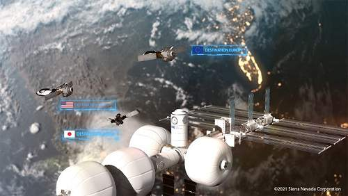 A rendering shows Sierra Nevada's proposed space station design, which would feature multiple inflatable habitats, the ability to dock with Dream Chaser mini-shuttles, and include food production and science labs. (Image: Sierra Nevada Corp.)