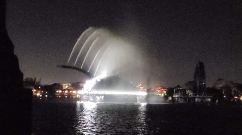 Disney Imagineers testing Harmonious Barges at World Showcase Lagoon March 11