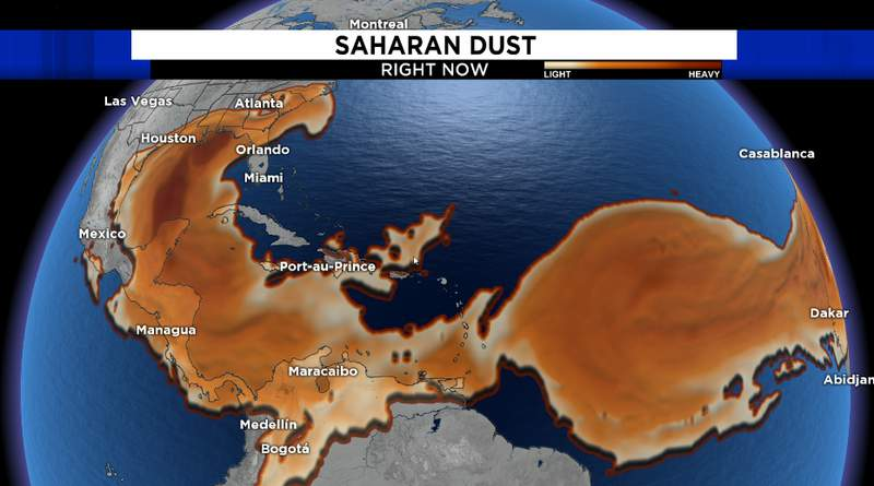 Saharan dust encompasses most of the main development region of the Atlantic Basin. This dry air and increased wind shear associated with the Saharan Air Layer helps limit tropical activity.
