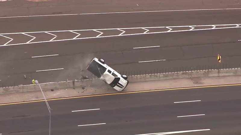Truck rolls over during high speed police chase, keeps driving