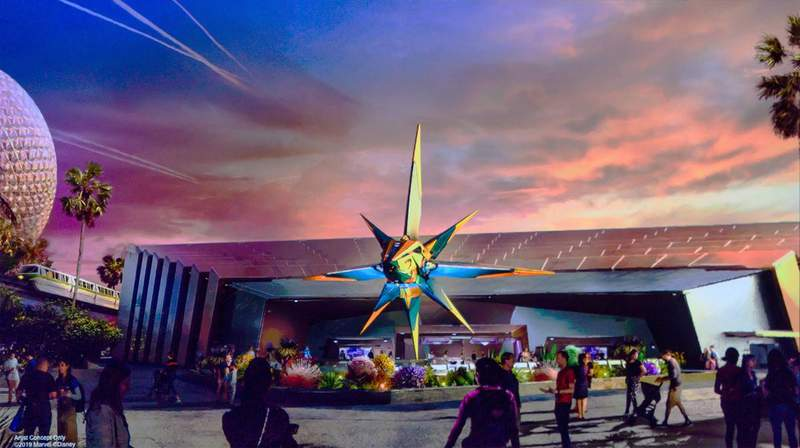 """Concept art for Epcot's new headliner attraction: """"Guardians of the Galaxy: Cosmic Rewind."""""""