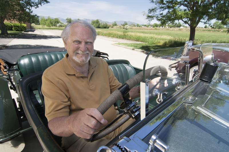 This 2007 image released by G.P. Putnam's Sons shows author Clive Cussler riding in a classic car. Cussler died on Monday, Feb. 24, 2020 at his home in Scottsdale, AZ. He was 88. (Ronnie Bramhall/G.P. Putnam's Sons via AP)
