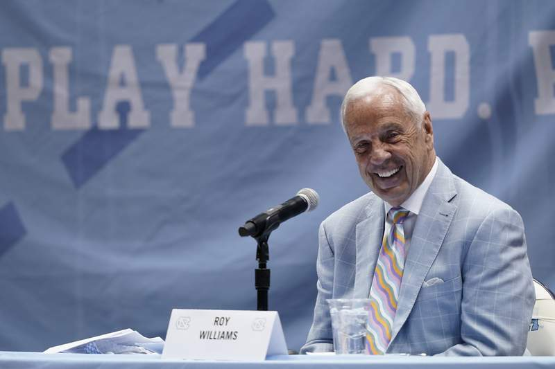 North Carolina Head Basketball Coach Roy Williams speaks with members of the media during a news conference, Thursday, April 1, 2021, in Chapel Hill, N.C. Williams is retiring after 33 seasons and 903 wins as a college basketball head coach. The Hall of Fame coach led the University of North Carolina to three NCAA championships in 18 seasons as head coach of the Tar Heels. (AP Photo/Gerry Broome)